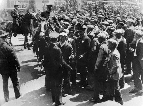 Police forces breaking up a gathering along the waterfront in San Francisco on the eve of the General Strike which involved over 200,000 workers. (General Photographic Agency/Getty Images)