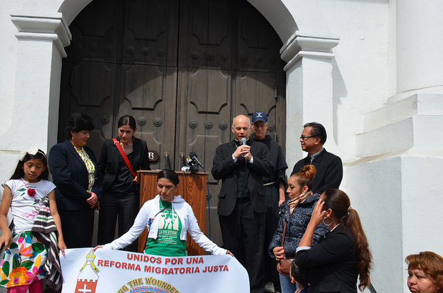 Archbishop Salvatore Cordileone speaking on immigration reform in May 2013. (Steve Rhodes / Flickr)