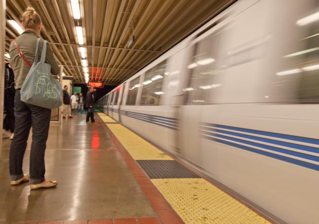 A train pulls into Oakland's MacArthur station. (Deborah Svoboda/KQED)