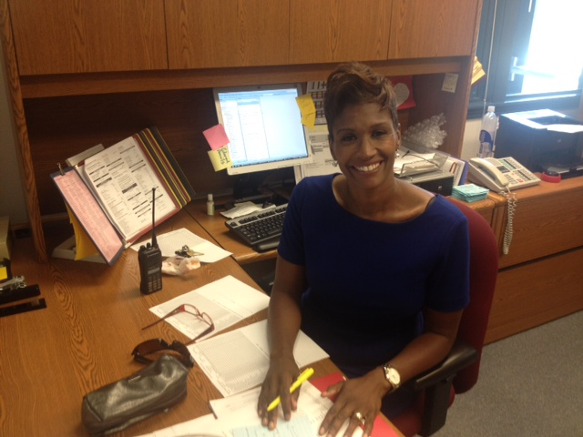 Irene B. West Elementary School Principal Mechale Murphy sits in her campus office before classes start.
