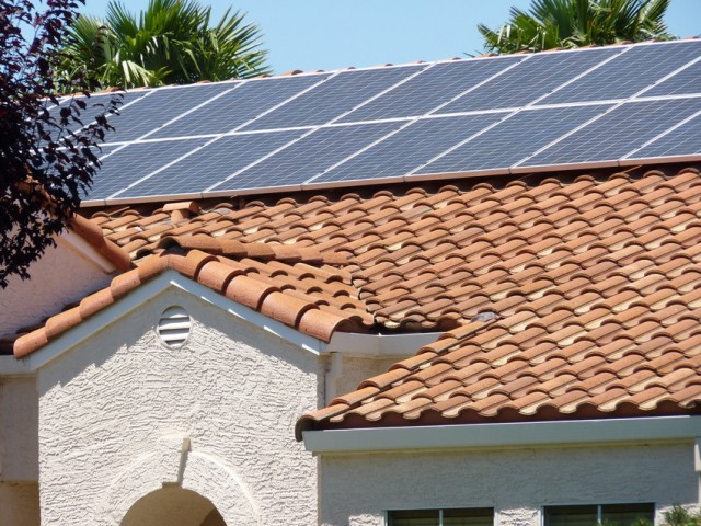 Solar panels on tile roof in Bay Area. (Craig Miller/KQED)