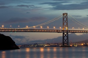 The western span of the Bay Bridge, which the Legislature has voted to rename after former Assembly speaker and San Francisco Mayor Willie Brown. (Lois Elling/ Flickr)