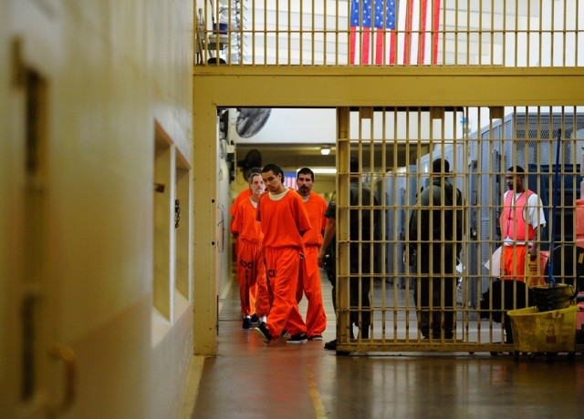 Prisoners at Chino State Prison, one of many California correctional institutions with a history of severe overcrowding. (Kevork Djansezian/Getty Images)
