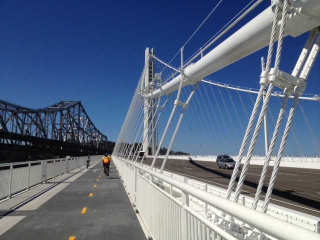 Pedestrians, cyclists and drivers all have a place on the new eastern Bay Bridge span. (Bryan Goebel / KQED)