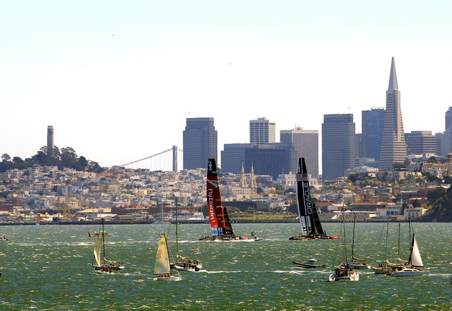 Emirates Team New Zealand and Oracle Team USA in Sunday's racing on San Francisco Bay.