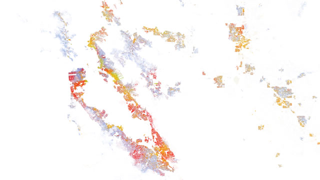 A map produced by demographic researchers at the Weldon Cooper Center for Public Service shows geographical distribution, population density and racial diversity in the U.S.
