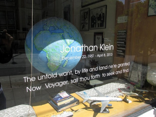 A tribute to Jonathan Klein, the late owner of Now Voyager. It opened as the first gay travel agency in the Castro in 1984.  (Bryan Goebel/KQED)