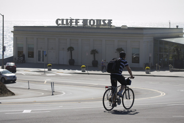 The Cliff House near Land's End in San Francisco is closed due to the federal shutdown. (Sara Bloomberg/KQED)