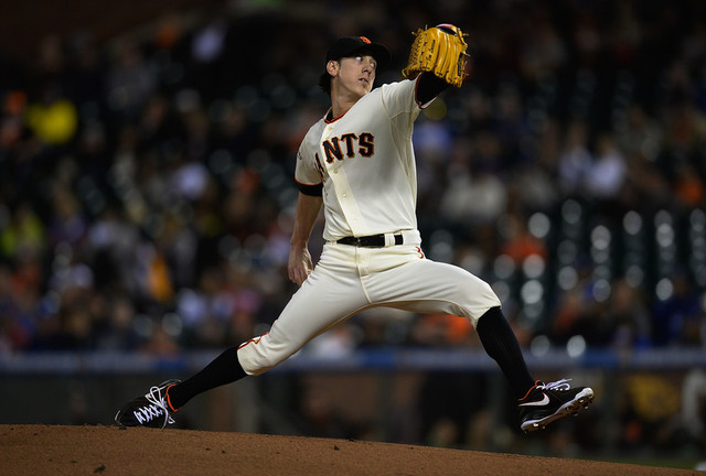 Giants' pitcher Tim Lincecum in action against the Los Angeles Dodgers in September. (Thearon W. Henderson/Getty Images)