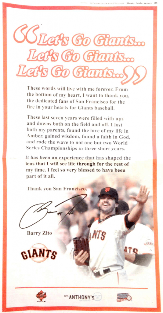The full page ad that Giants pitcher Barry Zito took out in the San Francisco Chronicle.