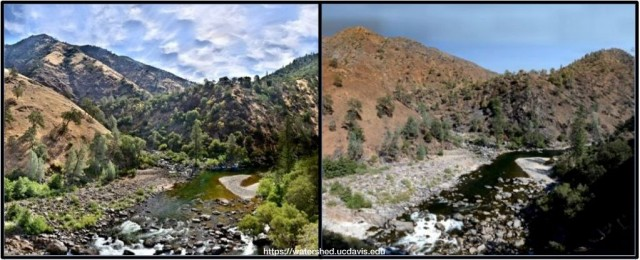 Before and after view of the confluence of the Clavey and Tuolumne rivers in the Rim Fire burn zone.