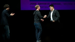 "Mark Zuckerberg spoke before the showing of a documentary, ""Documented."" He has been a public advocate of immigration reform. (Monica Lam/KQED)"