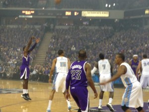 The Kings beat the Nuggets 90-88 in Wednesday's home opener. (Scott Detrow / KQED)
