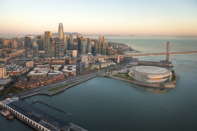The Golden State Warriors's latest rendering of their proposed new arena on the San Francisco Waterfront. (Golden State Warriors)