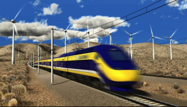An artist's rendering of the proposed train. (California High-Speed Rail Authority)