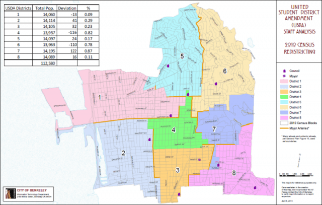 An intern in Councilman Kriss Worthington's office created an alternate vision of a student district that adds Foothill, Bowles, Stern, I-House and 11 co-ops. (City of Berkeley)