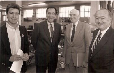 L to R: Scott Shafer, Mayor Art Agnos, Sen. Alan Cranston, state Sen. Milton Marks In 1989. (Courtesy of the City of San Francisco)