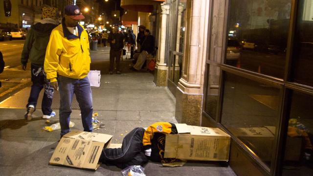 Homeless at San Francisco's Glide Memorial Church, April 2013. (Deborah Svoboda/KQED)