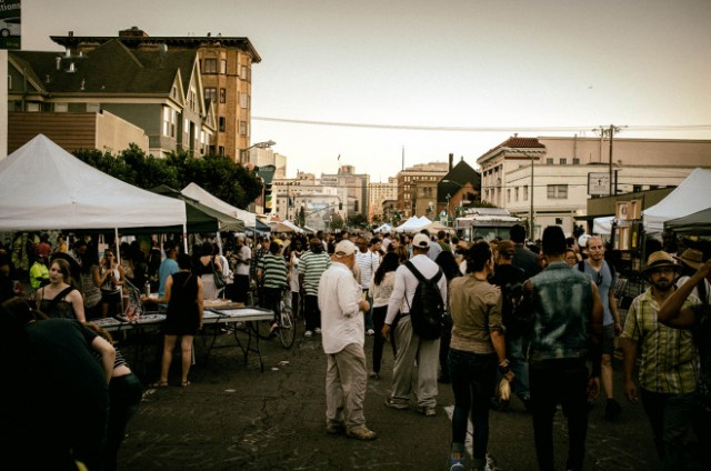Thousands of people attend First Friday each month. (Oakland Local)