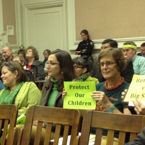 Proponents of a soda tax were out in force in neon green at Berkeley City Council. (Lance Knobel/Berkeleyside)