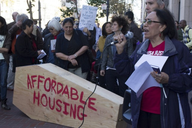 Activists protest outside Twitter headquarters in San Francisco. (Sara Bloomberg/KQED)