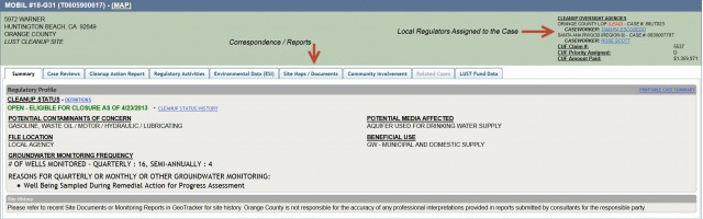 A Typical Geotracker Report Page