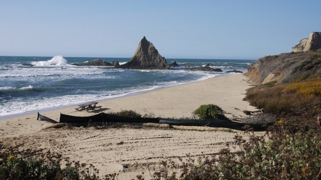 Pelican Rock marks the north end of Martins Beach on the San Mateo County coast. (Amy Standen/KQED)