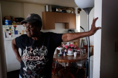 """Geneva Eaton says she has lost any hope that the Richmond Housing Authority will help with problems at its Hacienda apartment complex.""""I wanna go someplace else, but I don't have anywhere else to go,"""" she says. """"They treat us like animals here."""" (Lacy Atkins/San Francisco Chronicle)"""