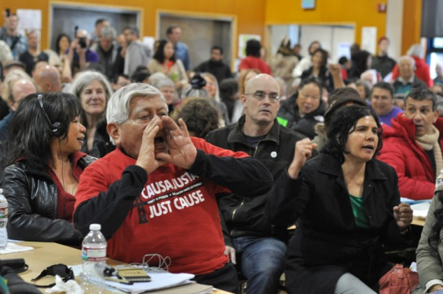 Activists gathered Saturday to discuss and vote on a raft of legislative proposals to address the lack of affordable housing in San Francisco. (Josh Wolf/San Francisco Public Press)