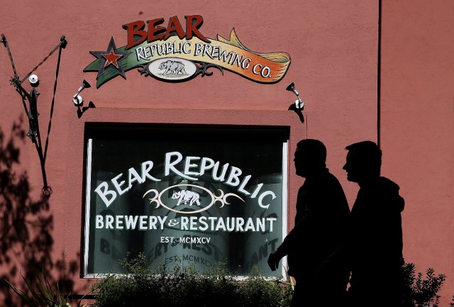 The Bear Republic Brewery and Restaurant in Healdsburg relies on Russian River water and worried the drought could affect the taste of its beer. (Justin Sullivan/Getty Images)