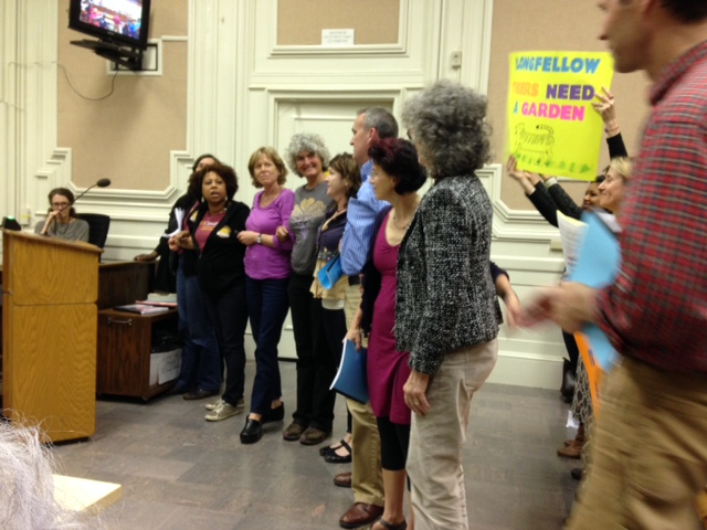 Supporters of the BUSD cooking and gardening program speak out at the March 12 BUSD Board meeting. Photo: Mary Flaherty/Berkeleyside