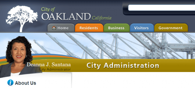 Screenshot of city of Oakland website, still featuring departed City Administrator Deanna Santana.
