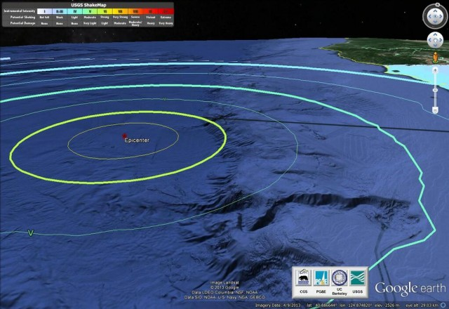 NOAA depiction of the epicenter of Sunday night's earthquake off the Humboldt County coast.