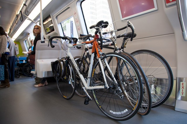 Each new car will contain a bike rack that can hold three bicycles (Mark Andrew Boyer/KQED)