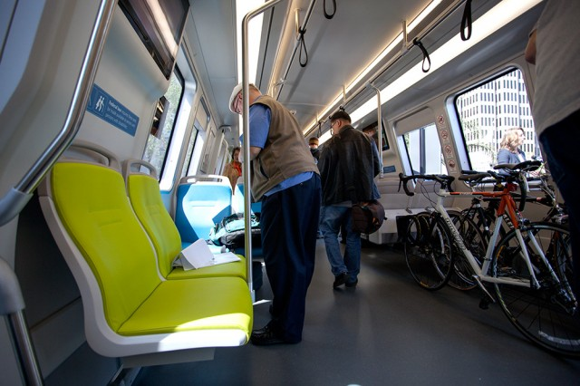 The seats of the new BART cars will have a thinner profile (Mark Andrew Boyer/KQED)