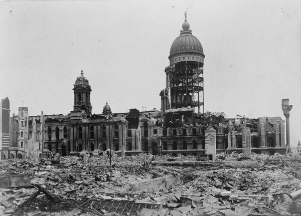 Ruins of City Hall after the quake and subsequent fire (Library of Congress).