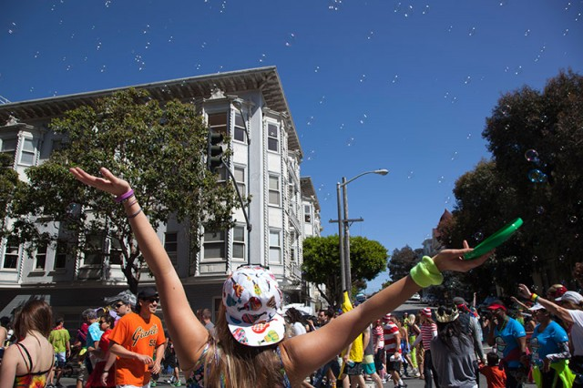 By about 11:00 a.m., the Panhandle was transformed into a dance party (Mark Andrew Boyer / KQED)