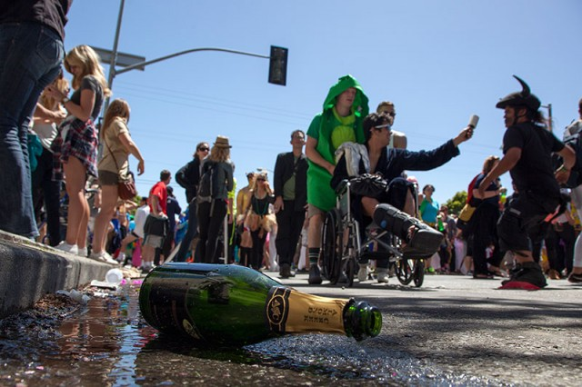 Although police took steps to curb alcohol consumption, there was still plenty of booze to go around (Mark Andrew Boyer / KQED)