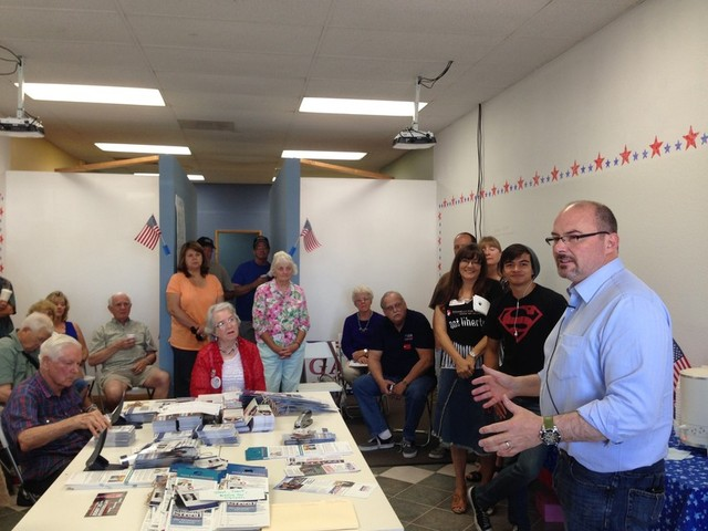 3)Tim Donnelly speaks to a group of campaign volunteers in Orange County. (Scott Detrow/KQED)