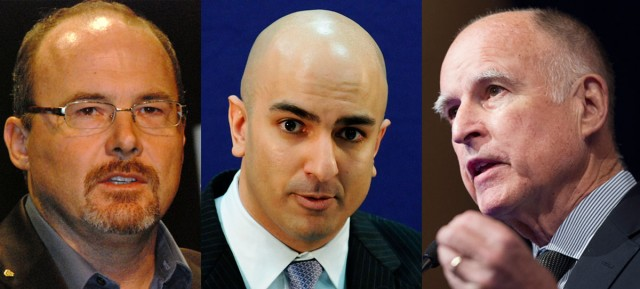 From left to right: Assemblyman Tim Donnelly (Erin Tyler/Flickr),  Neel Kashkari (Jonathan Ernst/Getty Images), Governor Jerry Brown (Jim Watson/AFP/Getty Images)