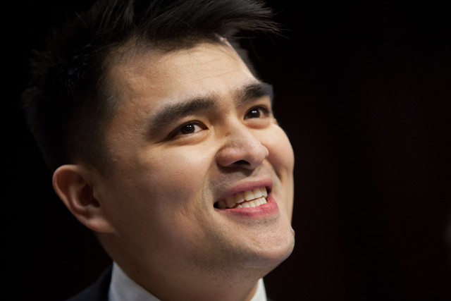 Jose Antonio Vargas testifies during a Senate Judiciary Committee hearing on 'Comprehensive Immigration Reform,' February, 2013 Hill in Washington DC. (Allison Shelley/Getty Images)