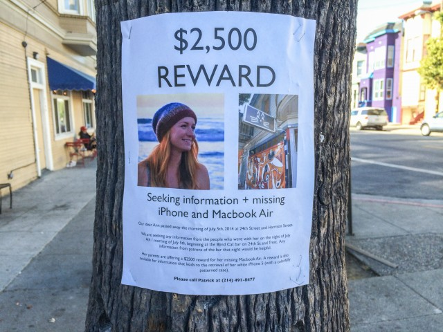 A flier posted by family and friends of Ann Zeis, who died after falling from a Mission District roof the night of the Fourth of July. (Dan Brekke/KQED)