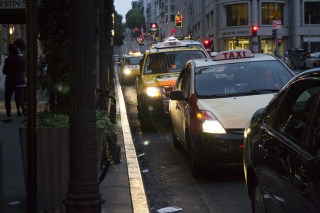 Taxis in downtown San Francisco. (Sara Bloomberg/KQED)