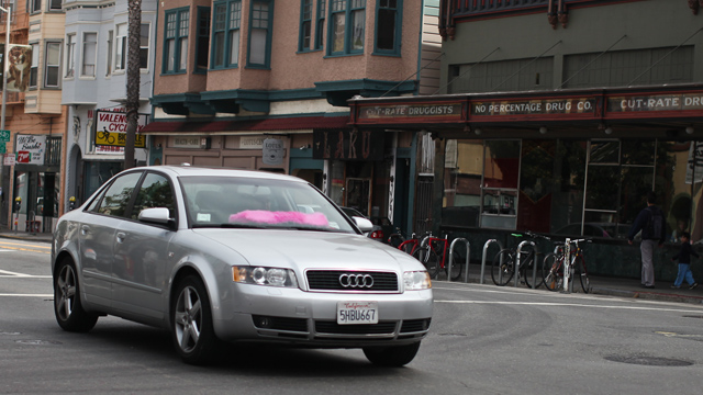 Are networked ride service drivers covered if they get into an accident while driving a paying passenger? It depends on who you ask. (Sara Bloomberg/KQED)