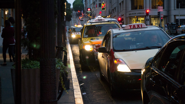 One taxi driver says more company money is spent on insurance than on payroll. (Sara Bloomberg/KQED)