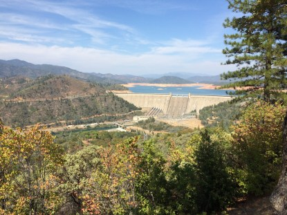 Shasta Dam, north of Redding, creates the state's largest reservoir as it captures the flow of the Sacramento, McCloud and Pit Rivers and smaller streams in Northern California. September 2014.