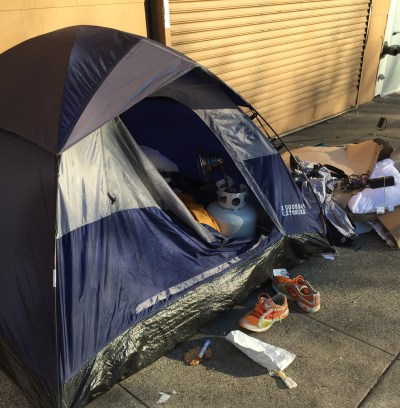 Supervisor Scott Wiener says a constituent emailed this picture of a propane tank inside a tent on a sidewalk near 16th and Pond streets.