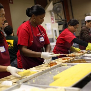 Volunteers prepare meals at St. Anthony's dining hall in the Tenderloin. (Justin Sullivan/Getty Images)