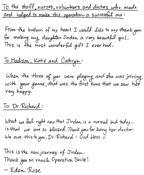 A Mother\u0027s Thank You for Healing her Daughter Operation Smile - Thank You Letter To Doctor