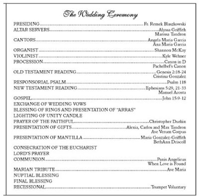 printable wedding program simple heart ceremony sample template